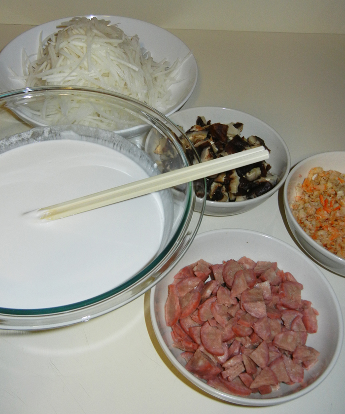 Turnip Cake Recipe - Prepped Ingredients