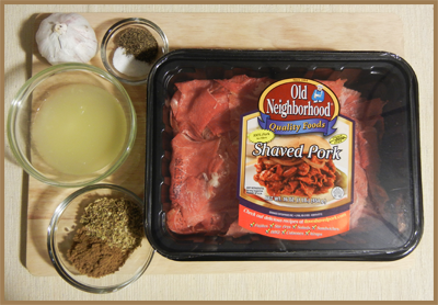 Shaved Pork & Marinade Ingredients